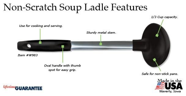 Rada Non-Scratch Soup Ladle Features