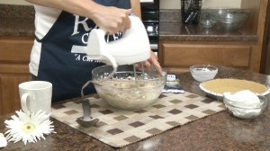 Blending cream cheese and sour cream