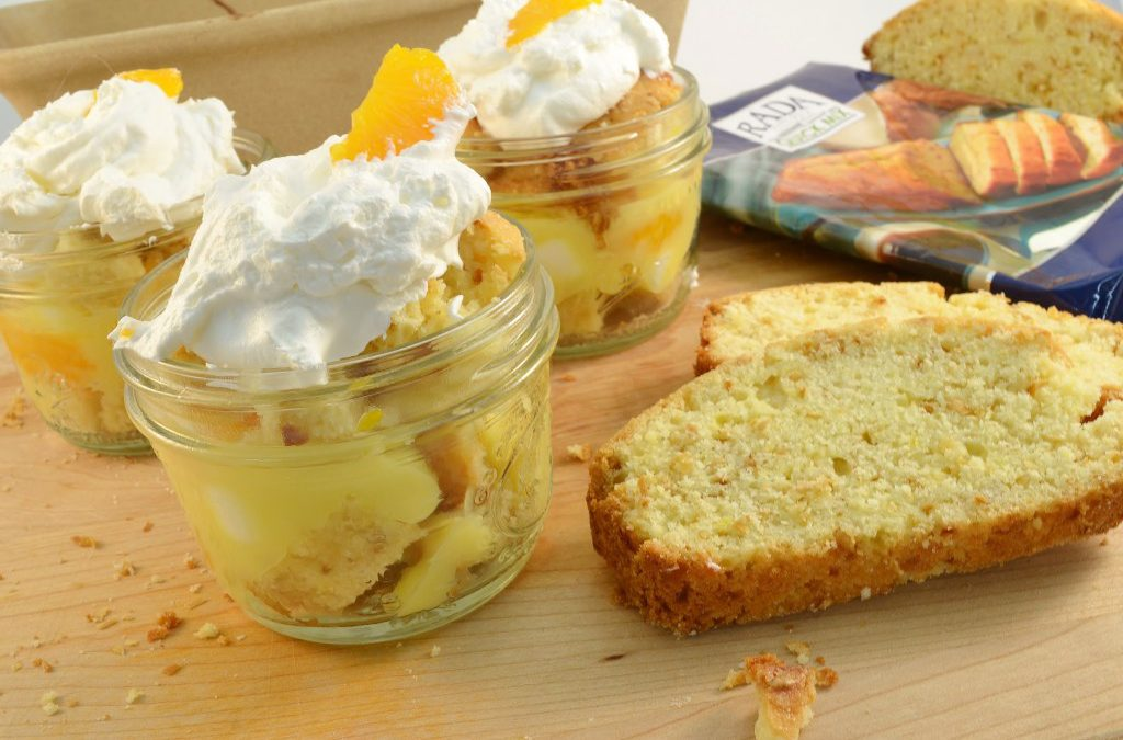 A splendid ambrosia-in-a-jar dessert with a Rada Quick Mix.