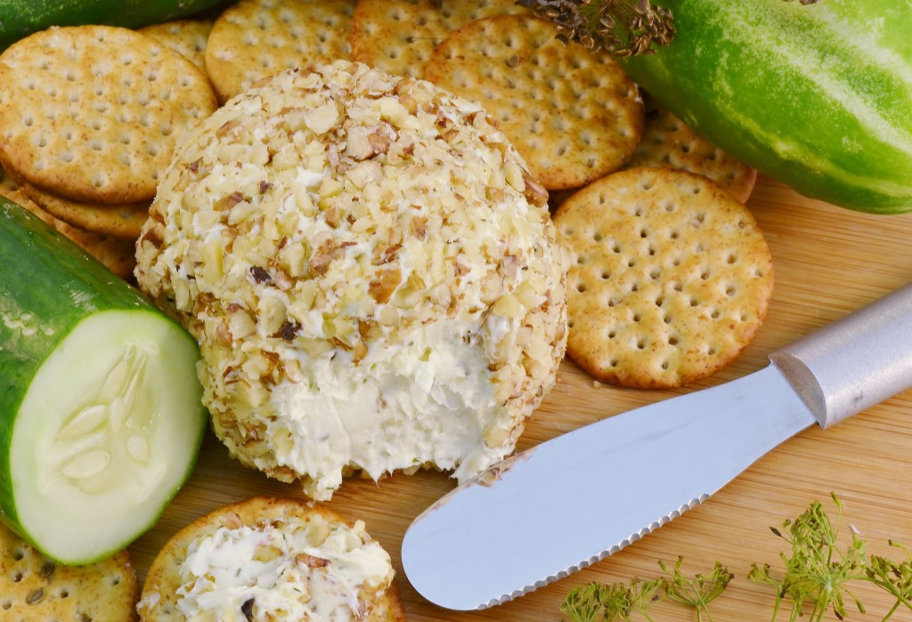 A cucumber onion dill cheeseball with a Rada Party Spreader.