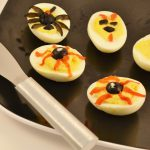 Spooky deviled eggs with the Rada Party Spreader.