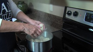 Boiling ramen noodles