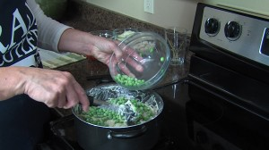 Adding green peas