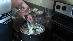 Adding black olives