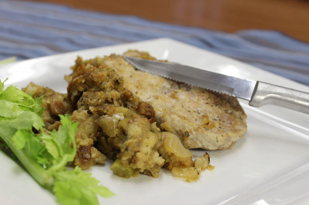 A Rada Serrated Steak Knife with a delicious pork chop and stuffing.
