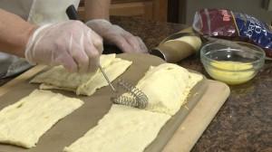 Sealing croissant dough