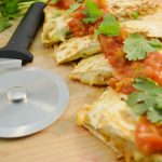 Tasty chicken quesadillas with the Rada Cutlery Pizza Cutter.