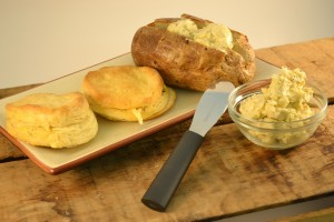 Compound Butter on Biscuits and Potatoes