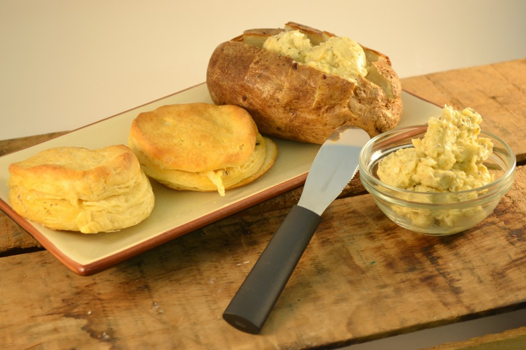 Compound Butter with potatoes, biscuits, and a Rada Party Spreader.
