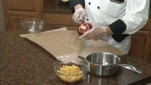 Slicing pomegranate