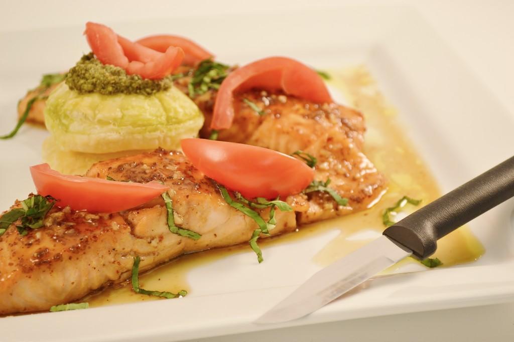 A glazed salmon dish with the Rada Cutlery Granny Fork.