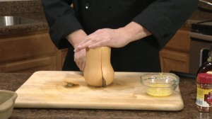 Cutting squash in half