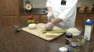 Chef Ted chopping celery for risotto.