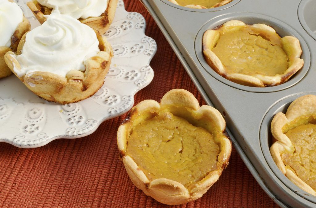 A batch of miniature pumpkin pies made with Rada Cutlery products.