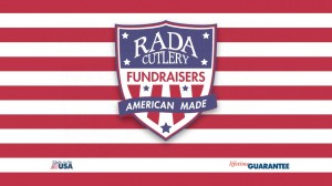 Banner for Rada Cutlery Fundraising with red, white and blue stripes.