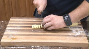 Cutting pasta dough.