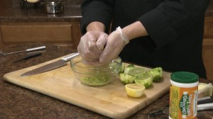 Chef Ted squeezes lime juice.