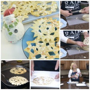 Collage of pictures making a snowflake tortilla recipe.