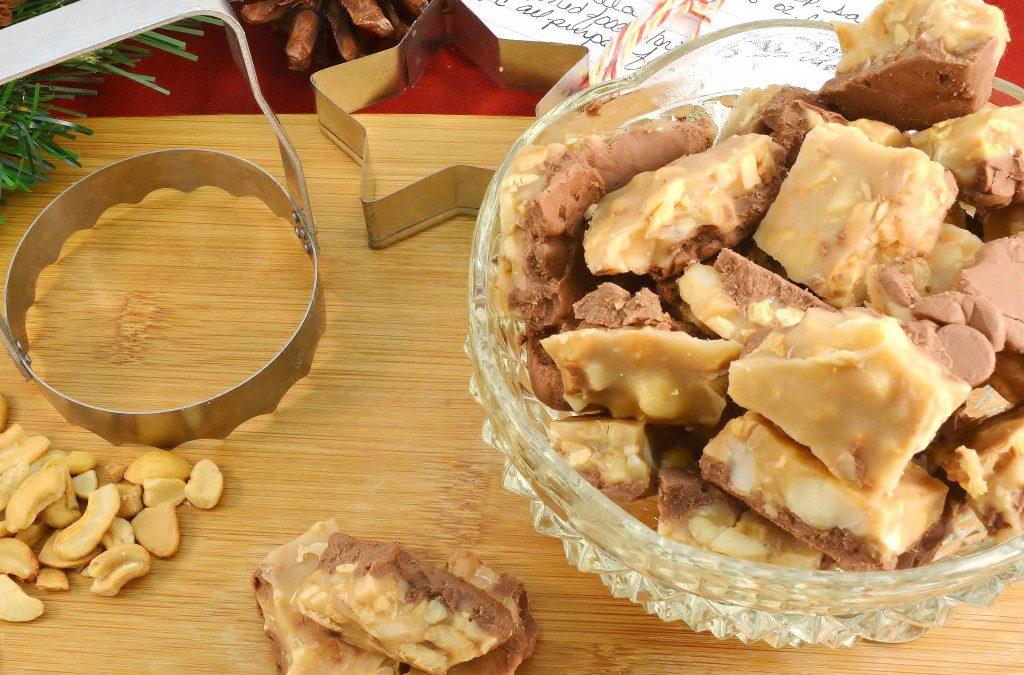 A wonderful macadamia nut crunch dessert with a Rada Serrated Food Chopper.