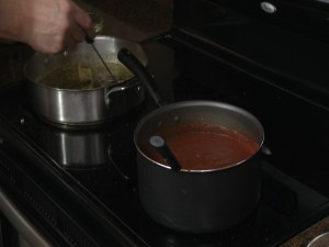 Chef Ted stirs pots for the mussels marinara.