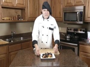 Chef Ted with mussels marinara.