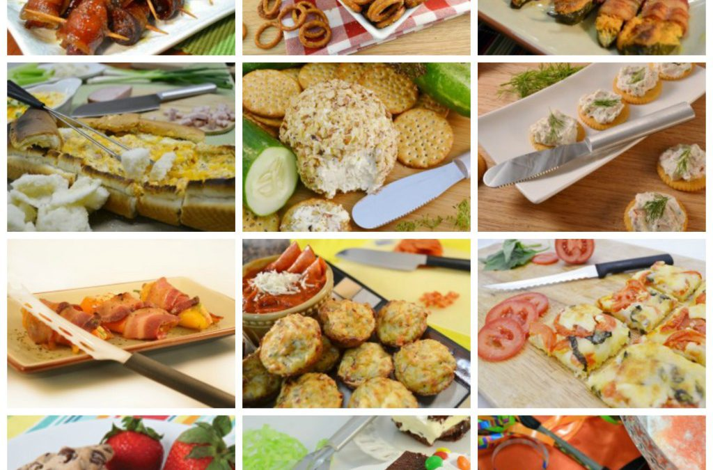 A collage of delicious holiday snacks prepared with Rada Cutlery products.