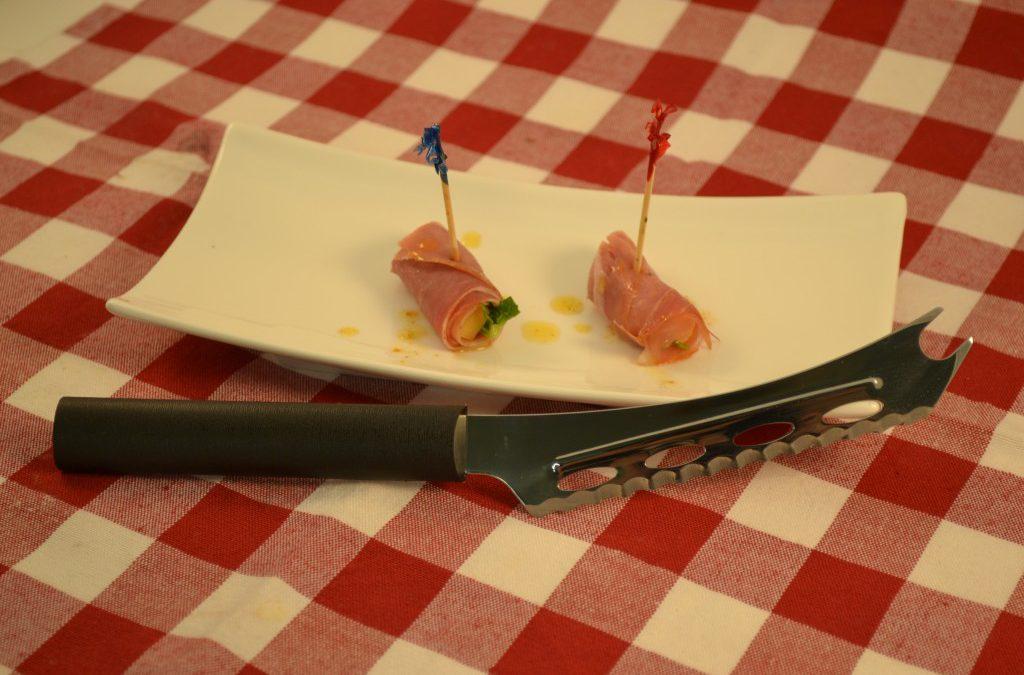 A delicious Prosciutto Wrap with a Rada Cheese Knife.