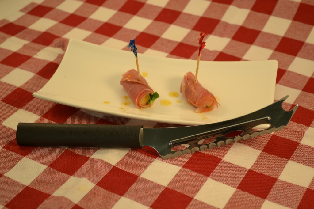 A delicious Prosciutto Wrap with a Rada Cheese Knife.