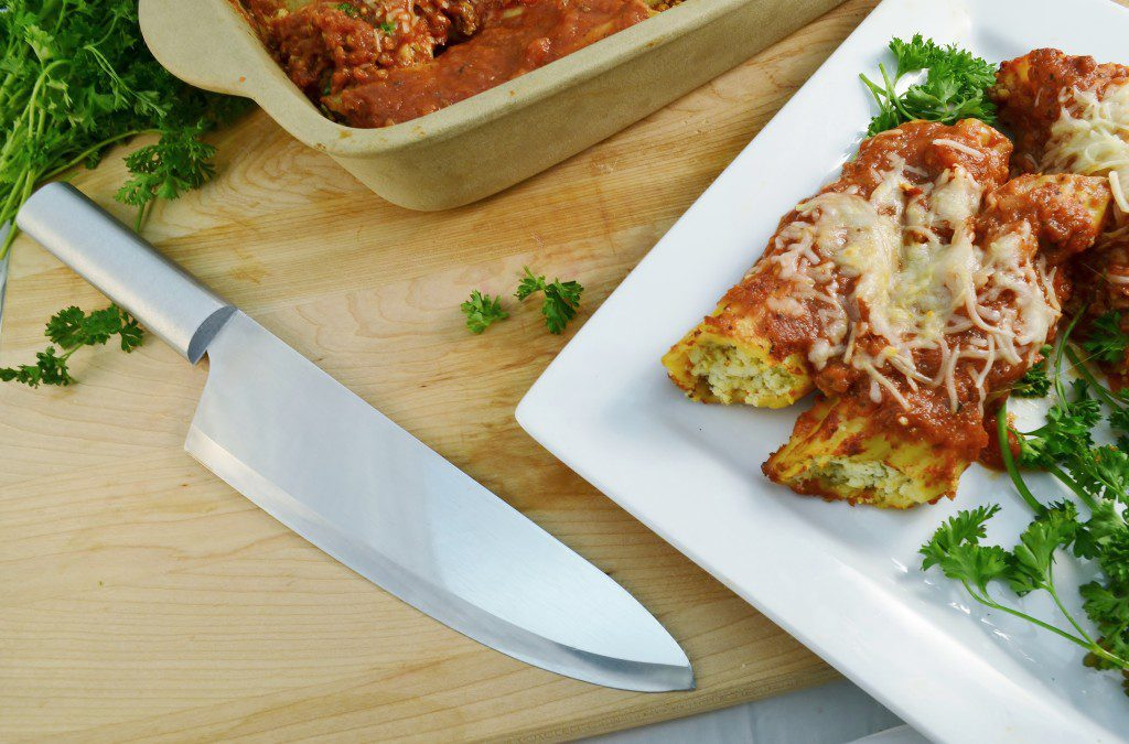 Delicious spicy sausage manicotti with the Rada French Chef knife.