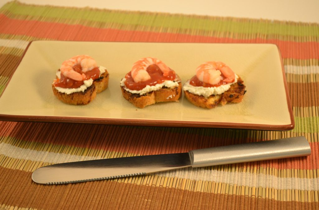 Shrimp on Toasted Crostini | Shrimp with Cocktail Sauce, Cheese Appetizer
