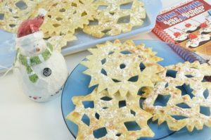 Tortilla Snowflakes made with Rada products.