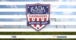 Rada Cutlery red, white and blue Fundraisers badge with soccer goal net in the background.