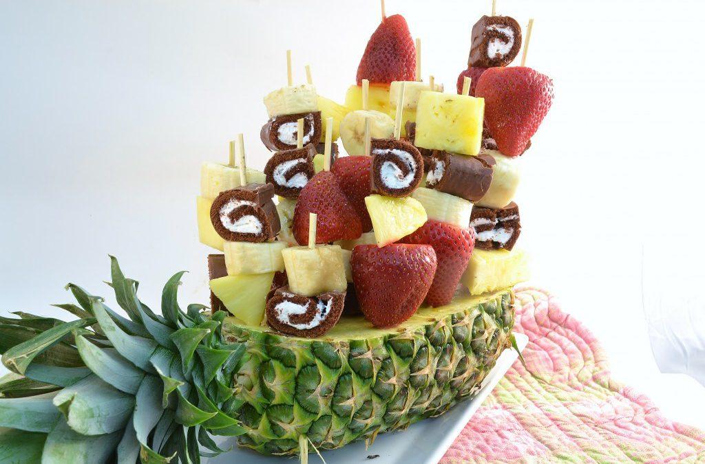 Sweet Swirls Edible Fruit Arrangement Recipe | Fruit and Ho Hos Bouquet