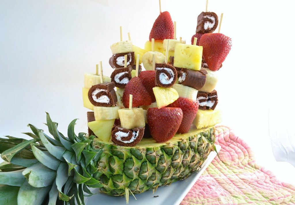 A fun Ho Ho and Fruit Bouquet made with Rada Cutlery products.