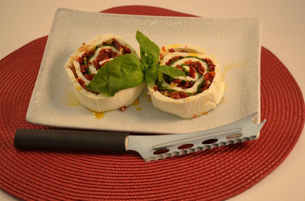 Caprese Salad Recipe | Rolled Mozzarella, Basil Sun Dried Tomatoes