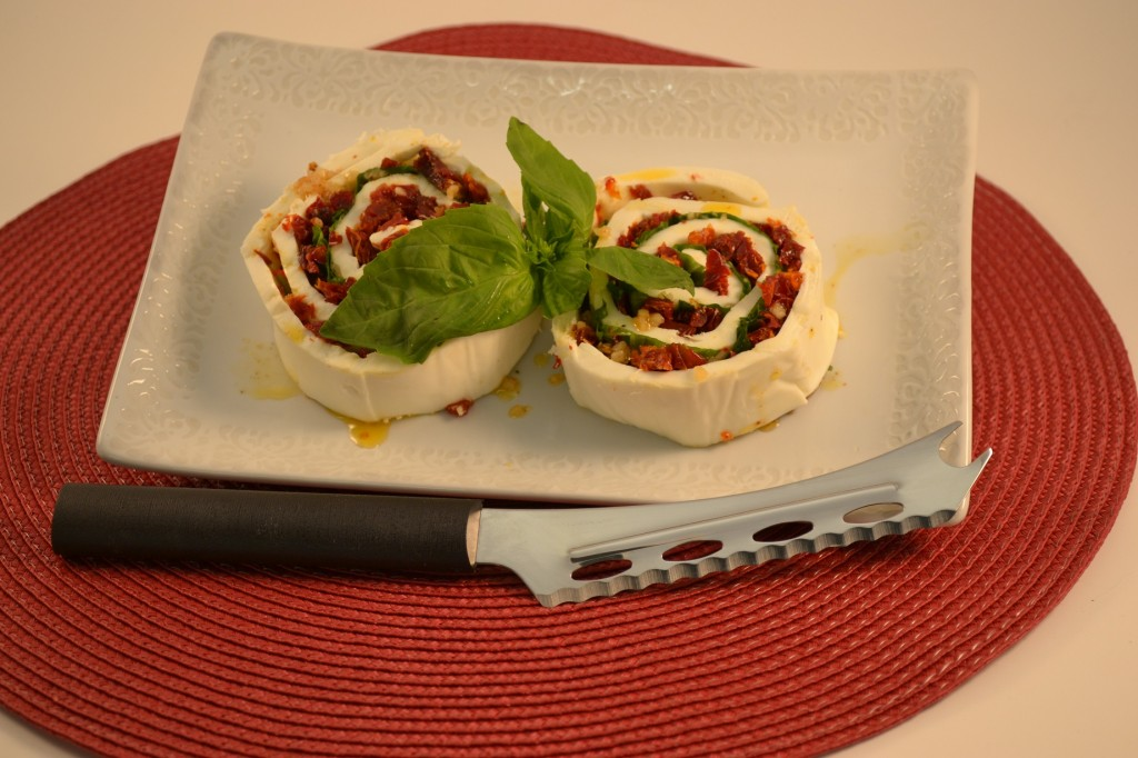 A beautiful Caprese Salad with the Rada Cheese Knife.