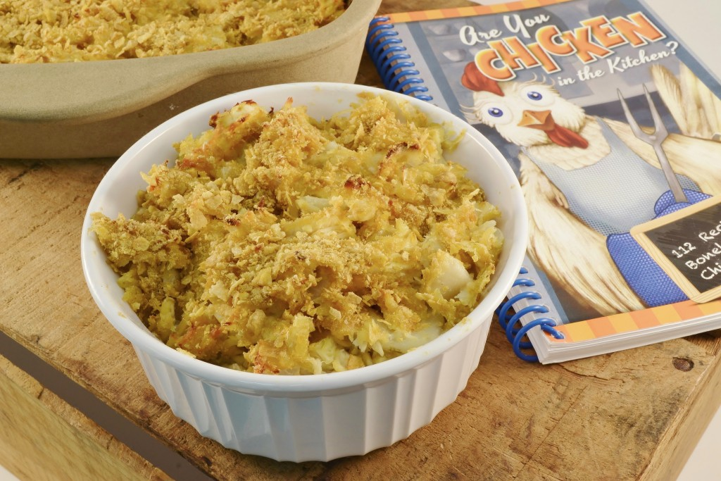 A chicken casserole with Rada's Are You Chicken in the Kitchen cookbook.