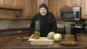 Chef Ted prepares to make his signature fruit arrangement.
