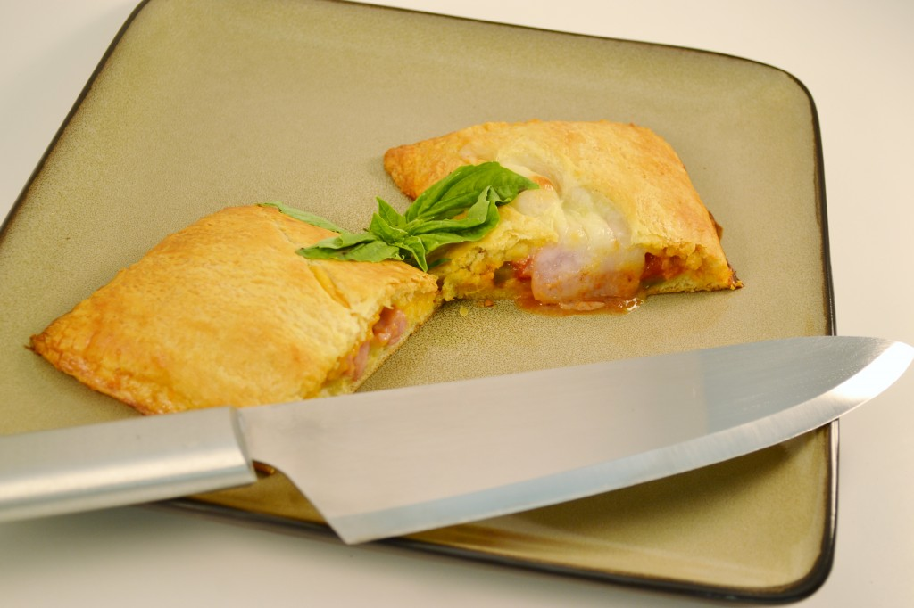 A delicious homemade meat turnover with a Rada French Chef knife.