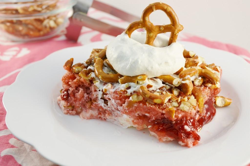 A scrumptious strawberry pretzel cake with the Rada Serrated Food Chopper.