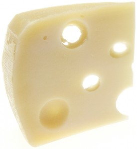 A piece of Swiss cheese.