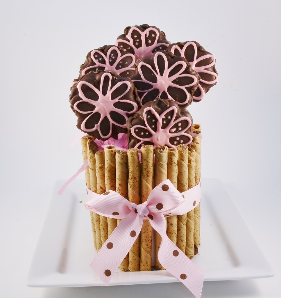 A gorgeous Brownie Bouquet prepared with Rada Cutlery products.