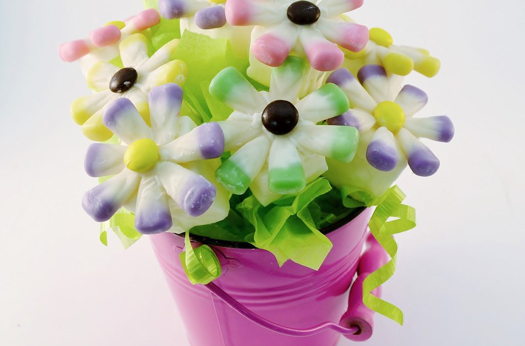 A delightful candy bouquet made with Rada Cutlery products.