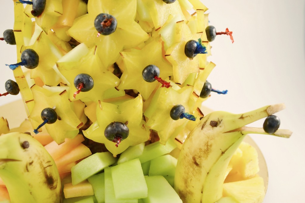 An edible fruit display prepared with Rada Cutlery products.