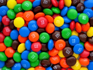A pile of M&M candies!