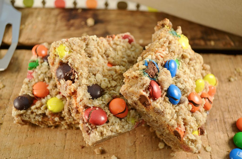 M&M Bars Recipe | Peanut Butter Candy and Oatmeal Bars