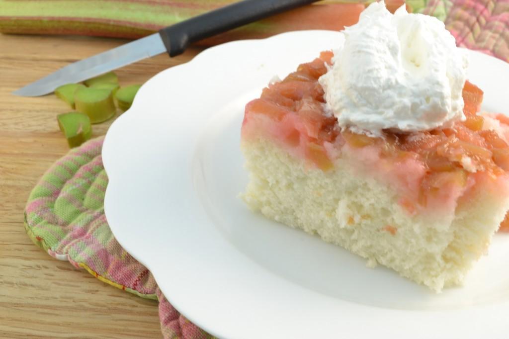A Rhubarb Cake with a Rada Serrated Paring knife.