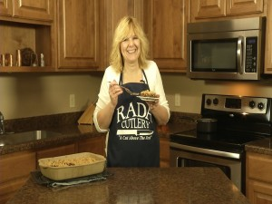 Kristy with completed Oatmeal Fudge Bars.