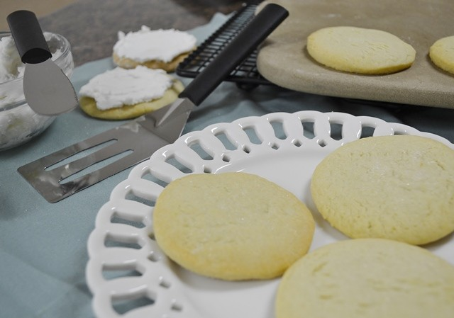 Sugar Cookies with a Rada Spatula and Rada Party Spreader.