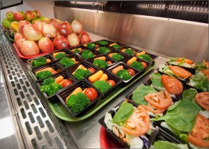 A vibrant arrangement of healthy foods at a school cafeteria in Virginia.